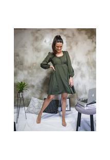 Vestido Edro Manga Longa Bufante Verde M