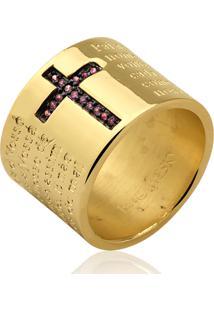 Anel Le Diamond Cruz Cravejada E Oração Do Pai Nosso - Kanui