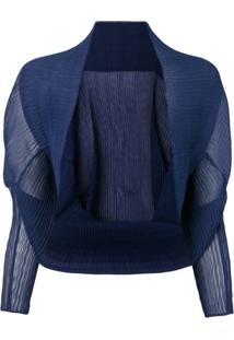 Max Mara Bolero Com Textura - Azul