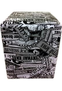 Puff Quadrado Alce Couch Courvin Jornal 45Cm - Preto - Dafiti