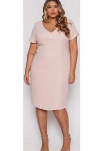 Vestido Almaria Plus Size Pianeta Festa Liso Rosa
