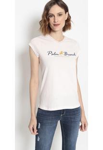 "Camiseta ""Palm Beach"" - Rosa Claro & Azul Marinhoclub Polo Collection"