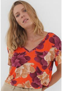 Camiseta Enna Floral Laranja/Bege - Kanui