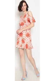 Vestido Com Linho - Coral- Operateoperate