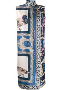Salvatore Ferragamo Vestido Estampado De Seda - Azul