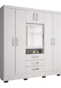 Guarda-Roupa Casal Capelinha Grafite 7Pt 3Gv Com Espelho Branco
