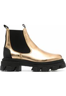 Ganni Ankle Boot Metalizada De Couro - Dourado