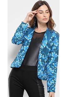 Blazer Road Mel Floral Feminino - Feminino-Azul+Azul Claro