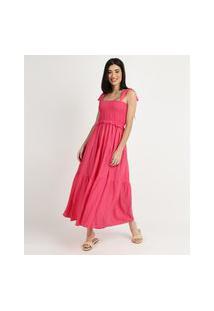 Vestido Feminino Midi Com Lastex Alças Média Rosa