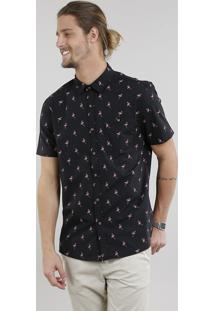 Camisa Masculina Estampada De Flamingos Com Bolso Manga Curta Preta