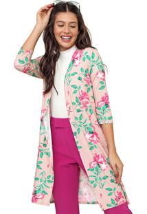 Kimono Enfim Floral Rosa