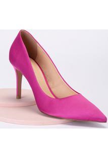 Amaro Feminino Scarpin Salto Fino Cetim, Rosa Pink
