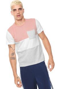 Camiseta Fiveblu Recortes Rosa/Branco