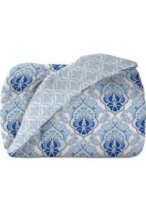 Edredom Diamante Queen Size- Branco Azul- 240X260Cteka