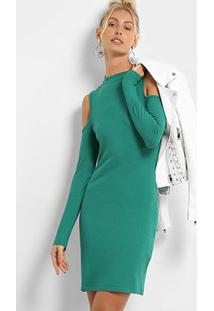 Vestido Colcci Tubinho Midi Recorte Ombro Manga Longa - Feminino-Verde
