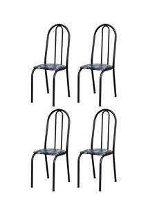 Kit 4 Cadeiras 050 América Cromo Preto/Florido - Artefamol