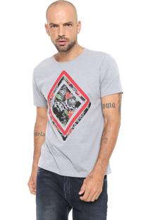 Camiseta Red Nose Estampada Floral Cinza