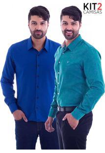 Kit 2 Camisas Slim Fit Live Luxor - Azul Royale E Verde-M