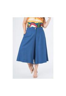 Calça Almaria Plus Size Munny Pantacourt Liso Azul