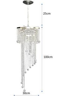 Lustre Pendente De Cristal Acrílico Alto Brilho Lina Design 30X125 Ac05