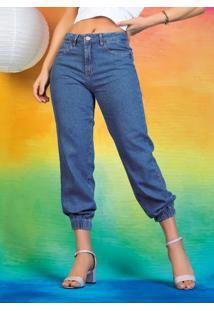 Calça Jeans Jogger Sawary Com Bolsos Funcionais