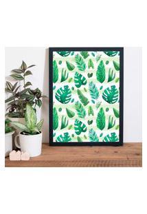 Quadro Decorativo Com Moldura Flowers Preto - 20X25Cm