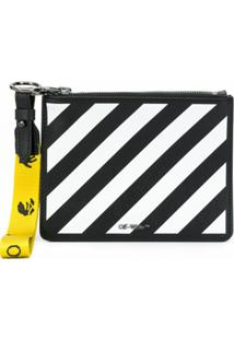 Off-White Clutch Com Listras Diagonais - Preto