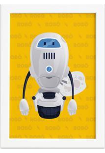 Quadro Infantil Robô Amarelo Moldura Branca 22X32Cm - Tricae