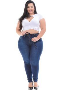 Calça Jeans Latitude Plus Size Skinny Andrilia Azul - Kanui
