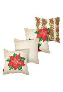 Kit Com 4 Capas Para Almofadas De Natal Floral Armonizzi