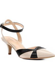 Scarpin Shoestock Salto Baixo Bicolor - Feminino-Off White+Preto
