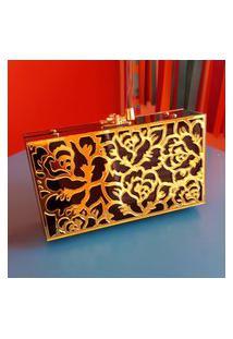 Clutch De Acrílico Rosas - Preto Com Dourado