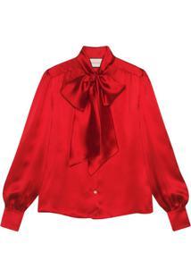 Gucci Blusa Com Laço - Vermelho