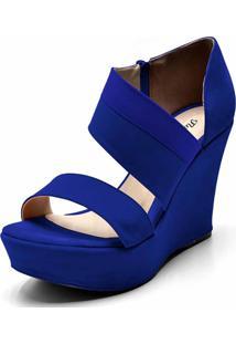 Sandália Anabela Flor Da Pele Azul