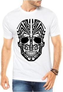 Camiseta Criativa Urbana Caveira Mexicana Tribal - Masculino-Branco