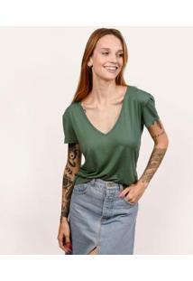 Camiseta Decote V Em Modal Terrário Cora Básico Feminina - Feminino-Verde