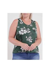 Blusa Estampada Rovitex Plus Size Feminina Verde