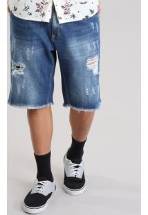 Bermuda Jeans Reta Destroyed Com Algodão + Sustentável Azul Médio