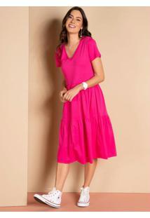 Vestido Midi Pink Soltinho Com Recortes