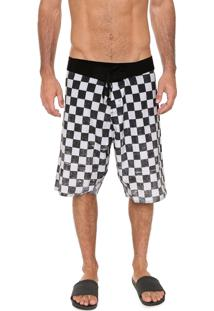 Bermuda Água Ride Skateboard Reta Checkered Branca/Preta