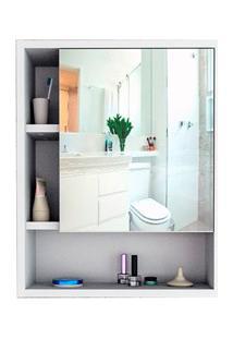 Armário Banheiro Com Nichos E Espelho Slim 5005 Branco/Castanho - Appu