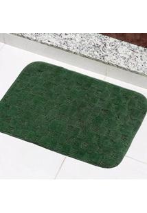 Tapete Para Banheiro Tapetes Junior Jasmim Em Polipropileno 40X60Cm Verde Musgo Antiderrapante