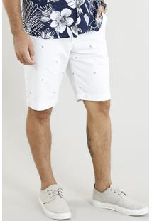 Bermuda De Sarja Masculina Estampada Mini Print De Folhagens Off White