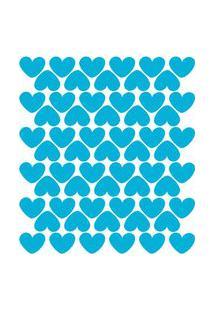 Adesivo De Parede Infantil Corações Azul Celeste 55Un