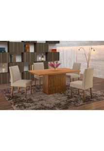 Conjunto De Mesa De Jantar Com 6 Cadeiras E Tampo De Madeira Maciça Arezo I Suede Castanho E Creme