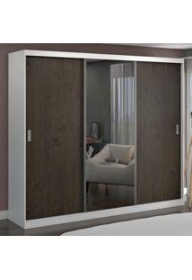 Guarda-Roupa Casal 3 Portas Com 1 Espelho 100% Mdf 774E1 Branco/Málaga - Foscarini