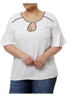 Blusa Manga Curta Plus Size Feminina Branco