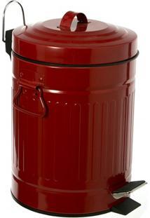 Lixeira Retrô Em Aço Com Pedal 5 Litros Vermelha