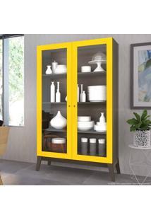 Cristaleira 2 Portas De Vidro 0808 Com Pés Palito Demolição/Amarelo - Genialflex