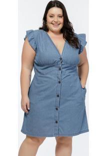 Vestido Plus Size Jeans Médio Com Babados